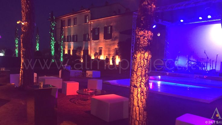 ALMA PROJECT 24/7 @ TENUTA IL PALAGIO 170715 - Facade Uplight - Trees lighting - Pinspots - Stage - White Glossy Dancefloor - Truss - MH - Wash blue amber - cypresses - 0722