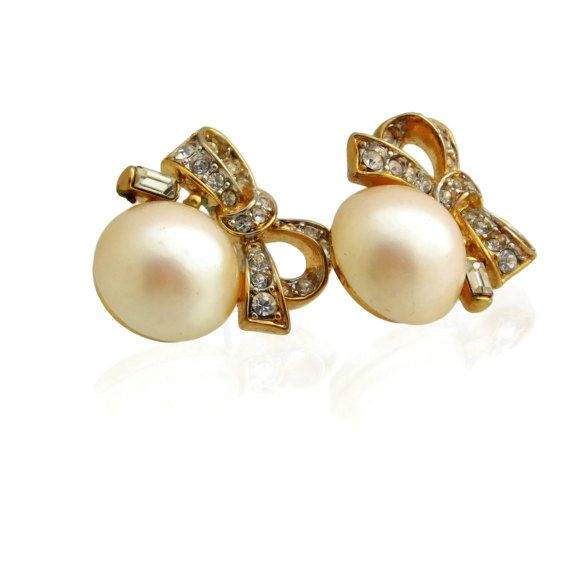 Faux Pearl and Rhinestone Bow Earrings/ Pearl by theheritagerose