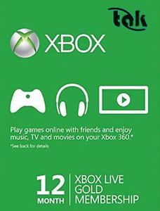 12 Month Xbox Live Subscription Card - Xbox 360 - 1 year Membership Live Card