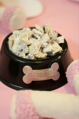 Puppy chow in dog bowls - dog party