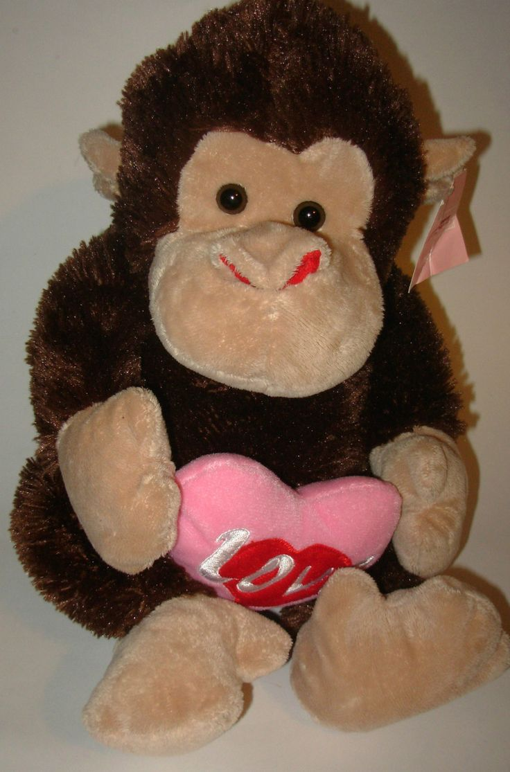 Roses Valentine S Day With Stuff Toys : Love monkey valentine s day plush stuffed animal pink red