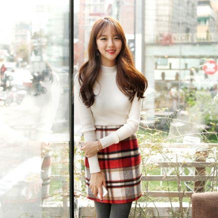 Korea Womens Luxury Shopping Mall [mimindidi] Color check ♡ sk / Size : FREE / Price : 24.11 USD #korea #fashion #style #fashionshop #apperal #luxury #lovely #mimididi #skirt #check