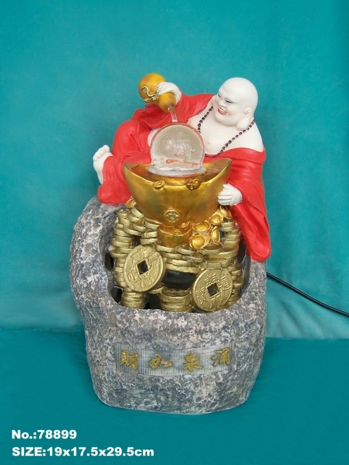 Buddha Water Fountain with Wu Lou, Chinese Coins and Crystal Ball