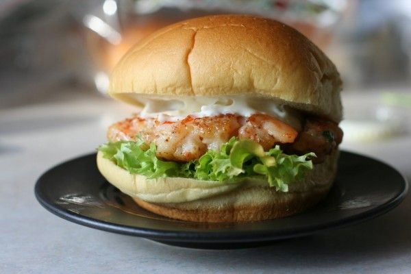 homemade shrimp burger