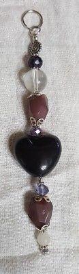 "Heart black purple quartz stone porcelain glass 6"" handmade key ring"