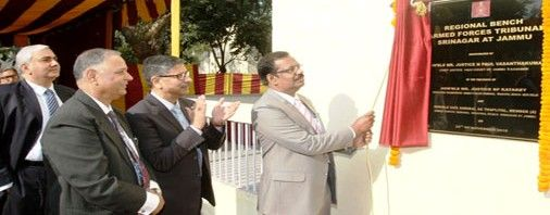Justice N Paul Vasanthakumar Chief Justice of J&K High Court inaugurating Regional Bench of AFT at Jammu on Friday.
