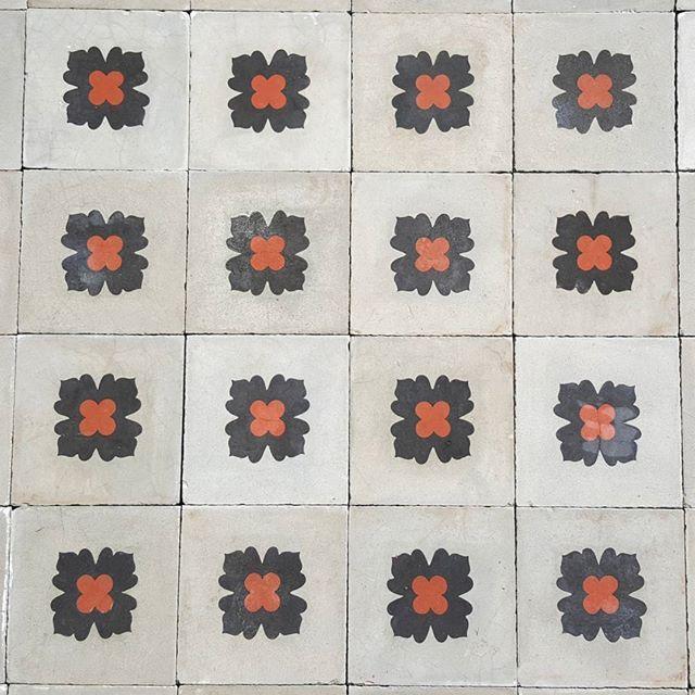 Carreaux De Ciment Avec Fleurs Rouge Et Bleue Carreaux De Ciment