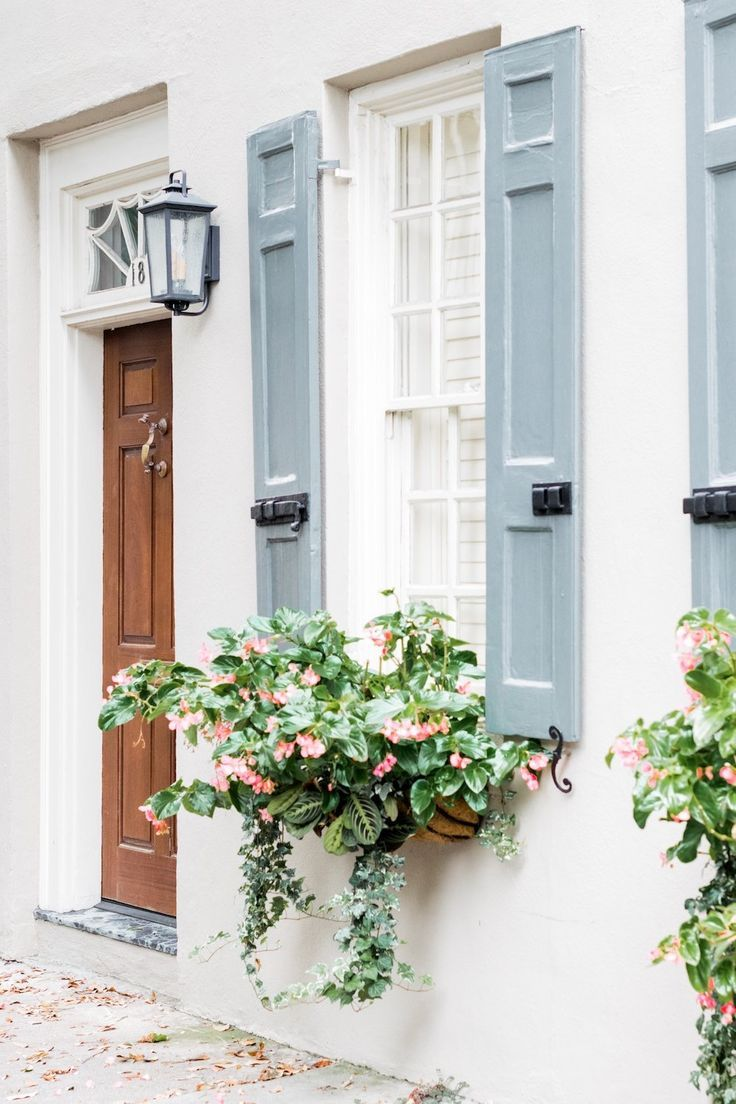 beautiful white and blue windows, window box, home design