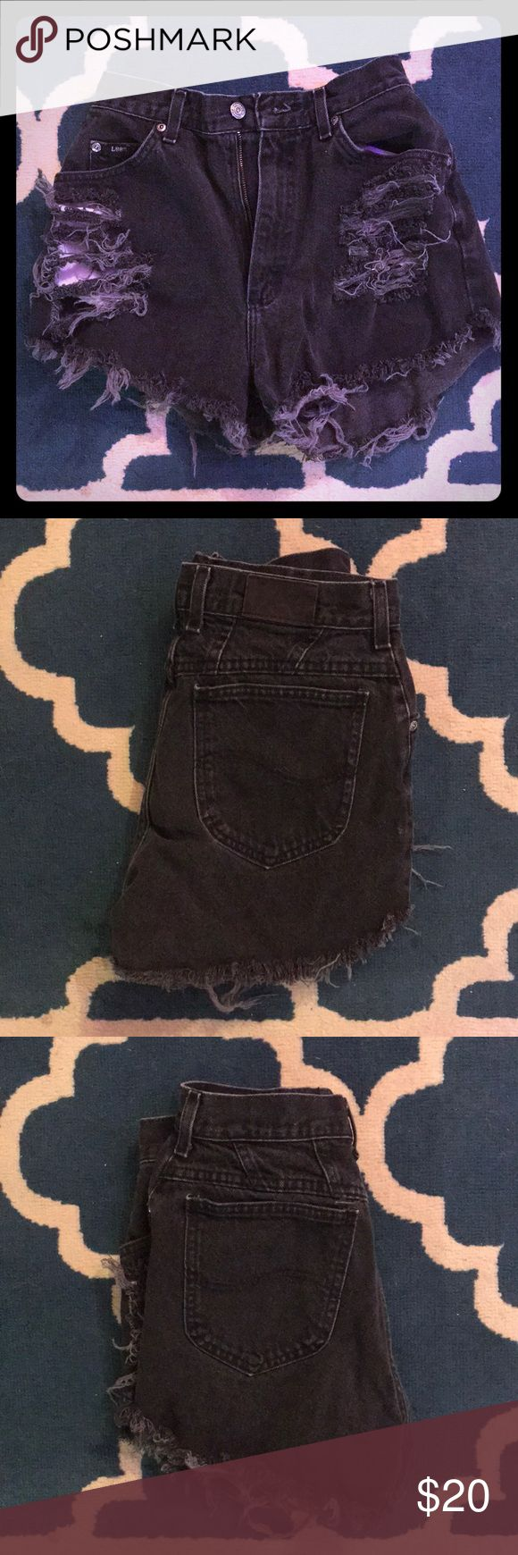 Vintage Lee high waisted distressed shorts Black distressed jean shorts with frayed ends. Super high waisted and cheeky. Tags too faded to read but they fit like a size 4. Too big for me now. Worn only a couple times Lee Shorts Jean Shorts