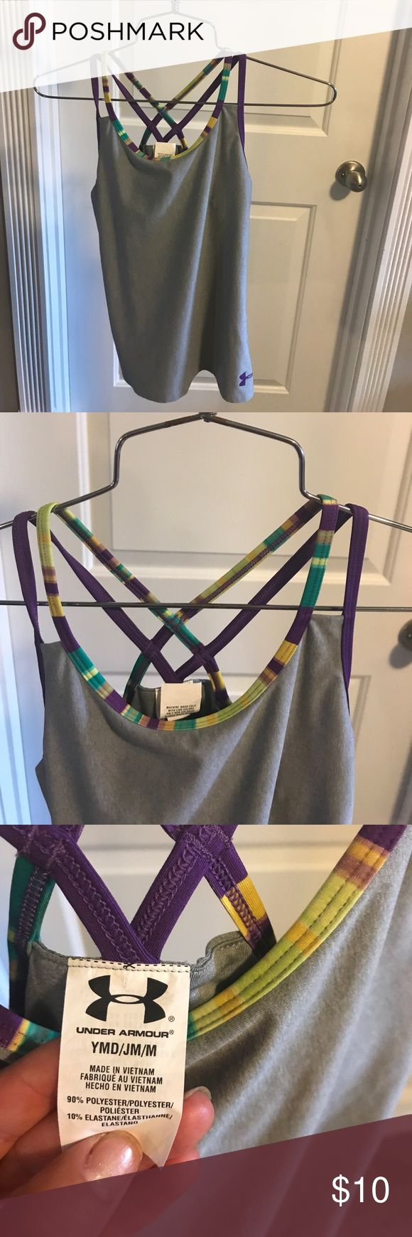 Girls Under Armour tank!!!! Girls gray Under Armour tank with multi-colored straps!!! Like New!!!! Under Armour Shirts & Tops Tank Tops