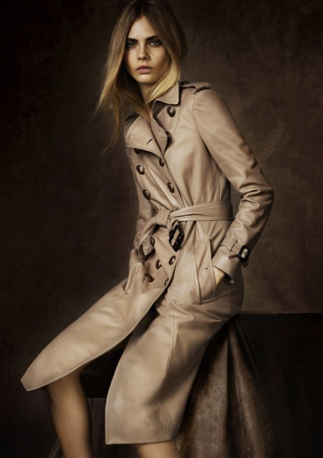 Burberry Prorsum Regent Street Collection A/W '12: Buttons Add, Delevingne Face, Leather Trench, Leather Coats, Burberry Regent, Trench Coats, Add Distinct, Regent Street, Military Buttons
