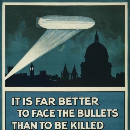Poster di propaganda inglese che incoraggia all'arruolamento per fermare i raid aerei. Fonte:Imperial War Museum
