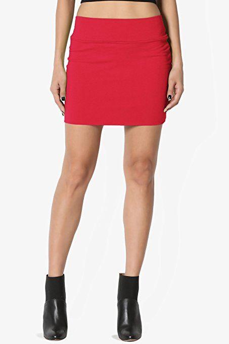 c5ad5758b4 TheMogan Women s Basic Stretch Cotton Foldover Waistband Bodycon Tube Mini  Skirt at Amazon Women s Clothing store