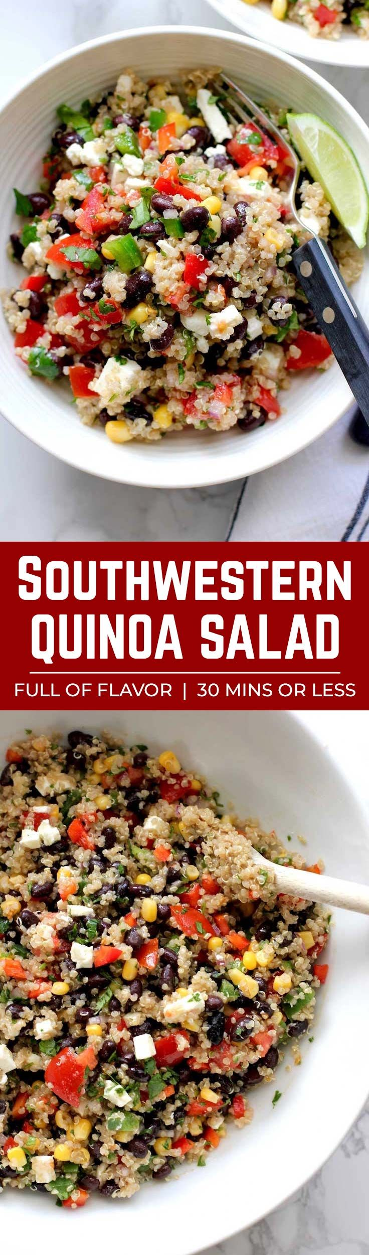 This southwestern quinoa salad is packed with fresh, colorful, crunchy vegetables, black beans, quinoa and tossed in a zesty lime cumin dressing. It's a healthy, delicious salad that everyone will love. #Quinoasalad #vegetarian #healthysalad