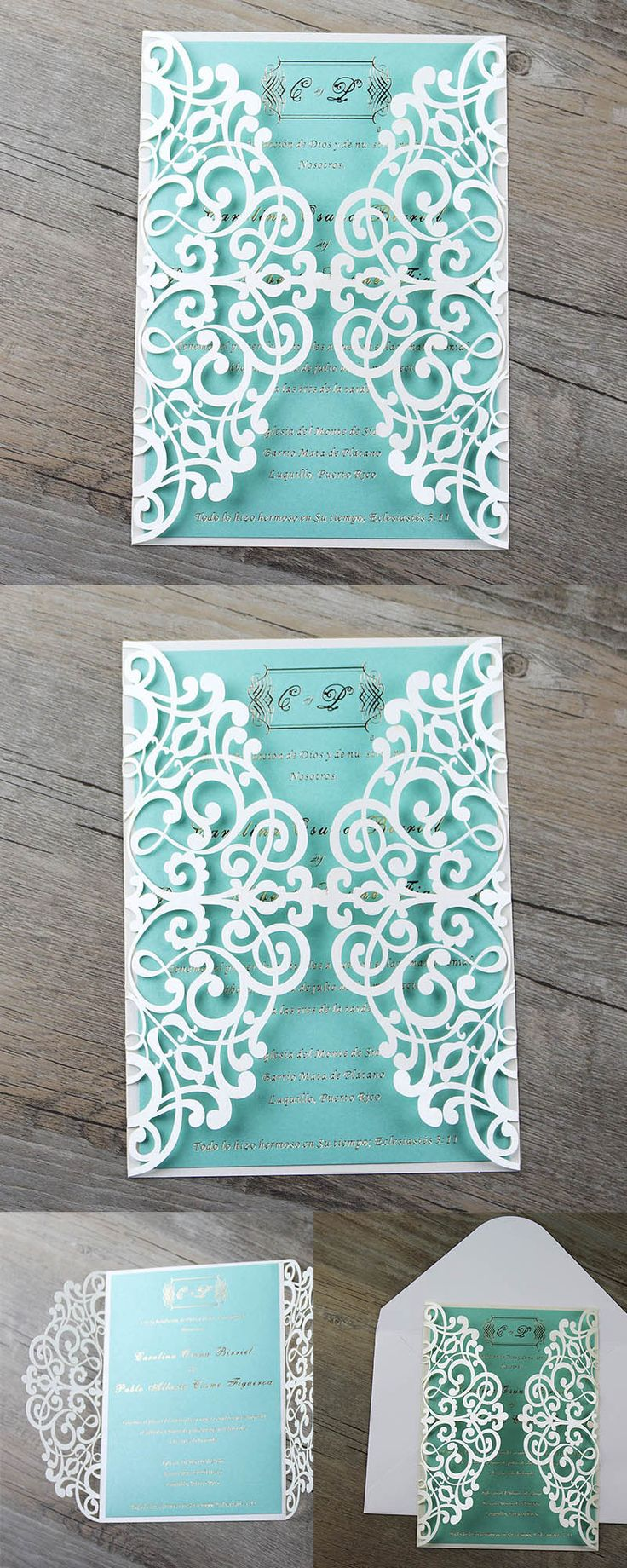 135 best Laser Cut Wedding Invitations images – Tiffany Blue and Red Wedding Invitations