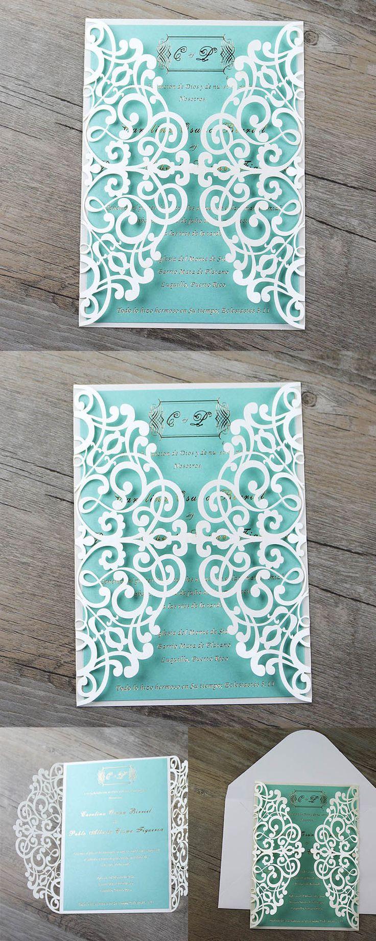 Wedding Invitations, Party Invitations, Tiffany Blue Laser Cut Wedding Invitations, Tiffany blue invitations