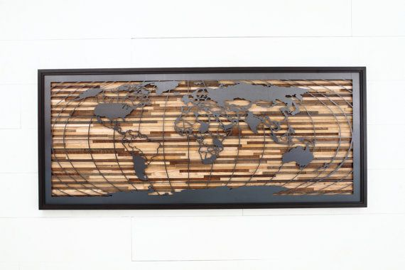 World map artwork made of old barnwood and natural steel
