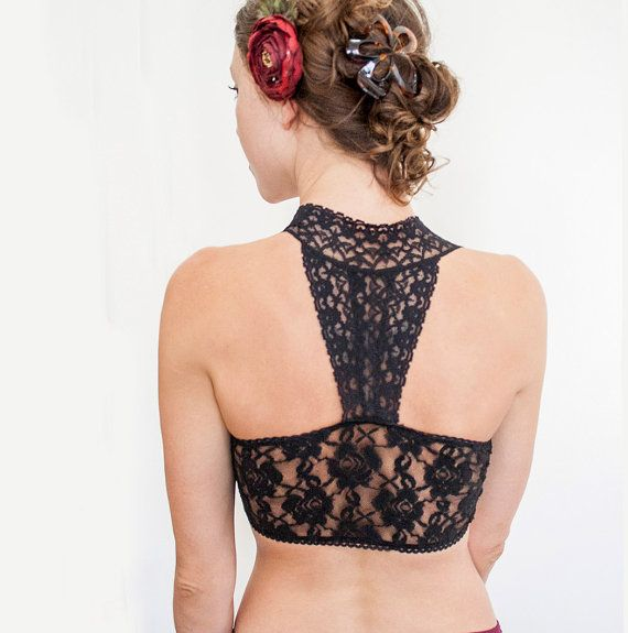 For unique tops/dresses that you can't figure out how to hide straps under. If it's going to show, make it beautiful! BLACK Lace Bralette. Halter Wireless Bra Top. Wide Straps. Unique Lingerie