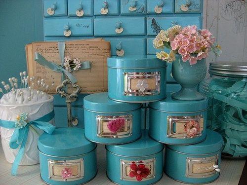 turquoise tins