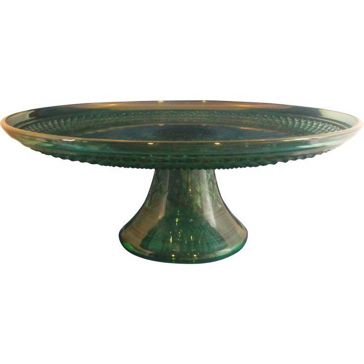 Green Cake Plate Vintage