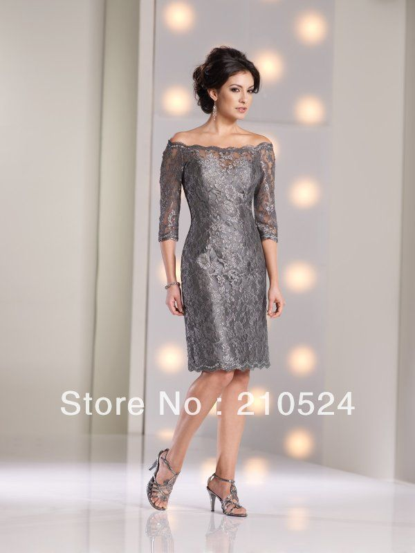 Knee Length Mother Of The Bride Dresses Off-shoulder 1/2 Sleeves Sheath Elegant Zipper Back Grey Color Cheap Selling $145.00