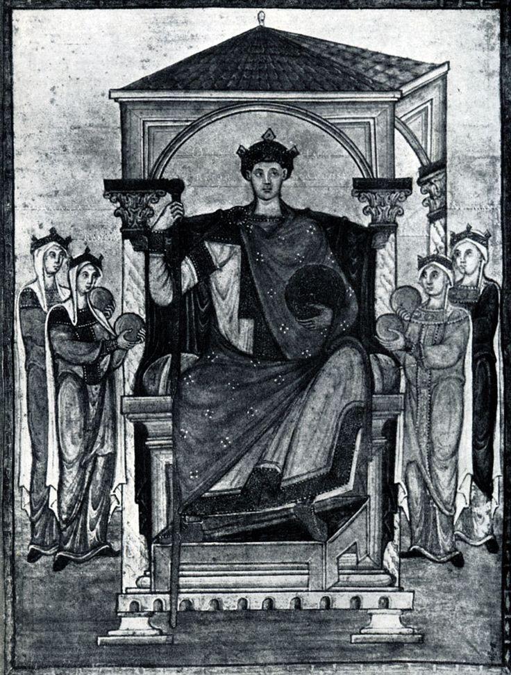 251.  Император  Оттон  II  с  олицетворениями подвластных земель. Миниатюра Регистра св. Григория. Из Трира, около 985 г. Шантильи, Музей Кенде.