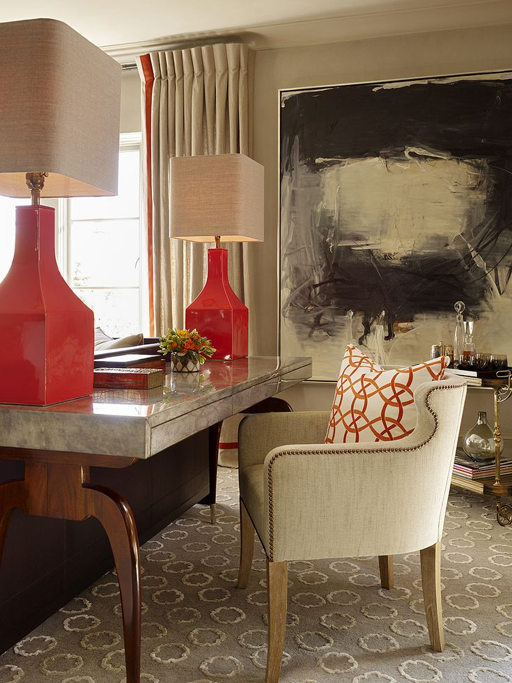 Feeling of space; great art, black, beige and RED color pallette