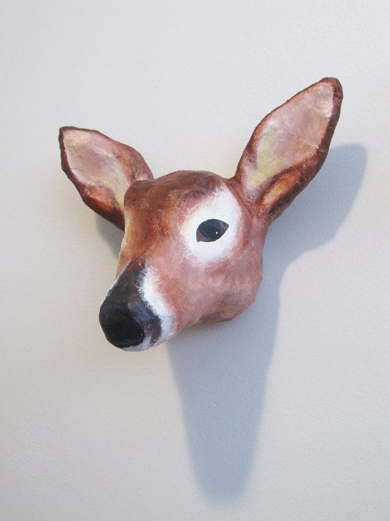 Paper Mache Deer Head Wall Mount By Marymake On Etsy Paper Mache Animal Pinterest