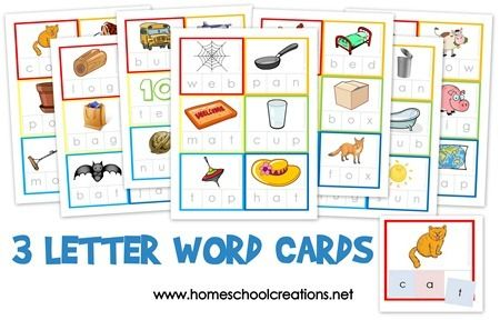 Three Letter Word Cards ~ Free Printable from Homeschool Creations