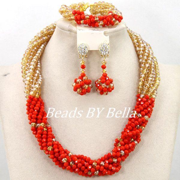 Очаровательная африки свадебные ювелирные изделия оранжевый золотой кристалл бусины индийские украшения комплект мода новый бесплатная доставка ABY438