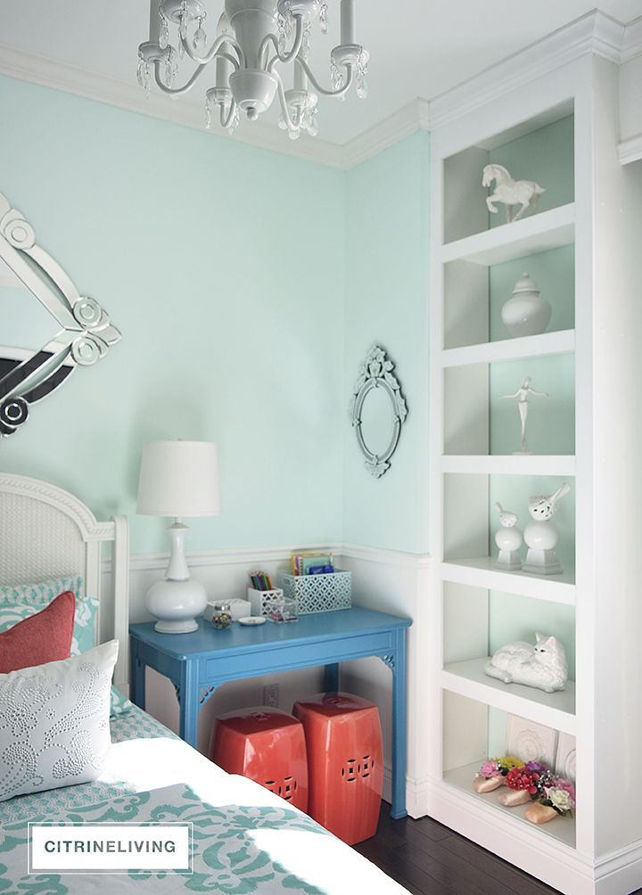 A REFRESHING BEDROOM UPDATE BY CITRINELIVING | Refreshing Teal by Benjamin Moore brings a light and airy elegance to this girls' bedroom.