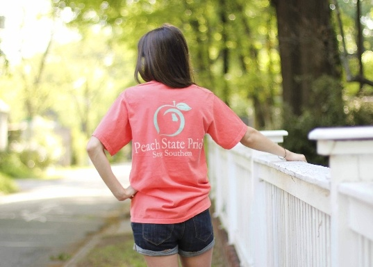 "Peach State Pride ""Stay Southern"" pocket tee in coral.  15% of all proceeds go back to GA.  LOVE."