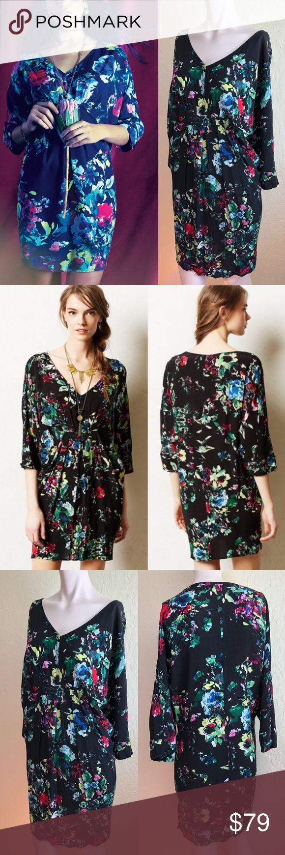 """Anthropologie Maeve Hot Drape Petal Palette Floral MSRP $128 Sold out!  Size L Color Black multi floral  Sleek w/leggings + street-smart w/skinny jeans, tunics (like this silky, boho one from Maeve) are on our radar for spring. Wear also as a sexy pullover draped dress w/chilled pocket styling + dolman sleeves  EUC; hardly worn, no flaws 53% viscose/47% rayon Dry clean  May run large - check measurements! Flat approx"""" Length 36 Chest 27.5 (dolman) Waist 26 (empire) Hip 25 Dolman sleeve 22.5…"""