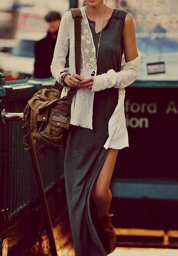 cotton tank dress with lace cardigan