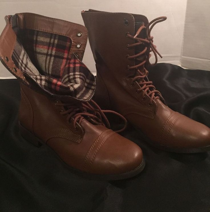 Military Combat Ankle Lace up Boots Women's Brown Plaid Faux Leather    eBay