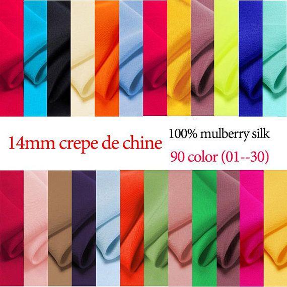 14mm 114cm de largeur 100 % mulberry soie crêpe de Chine tissu par demi-mètre (01 - 30) DF986