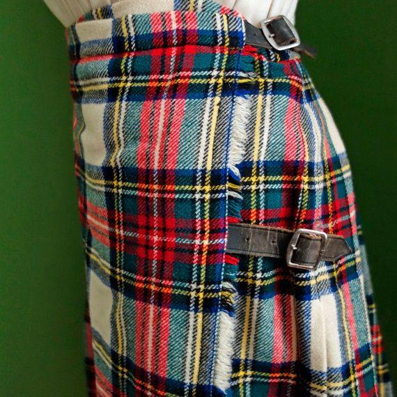 années 1960 Stewart Tartan Kilt jupe Celtic Scottish Highlands Ecosse Lowlands Vintage moyen petit 28 pouces taille