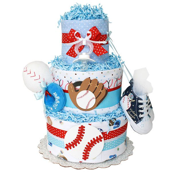 Baseball Sport Diaper Cake for a Boy, $109.00