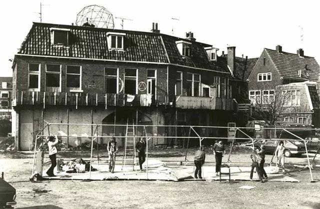Achterkant kraakpanden Veemarktstraat Groningen 1978 '79 '80