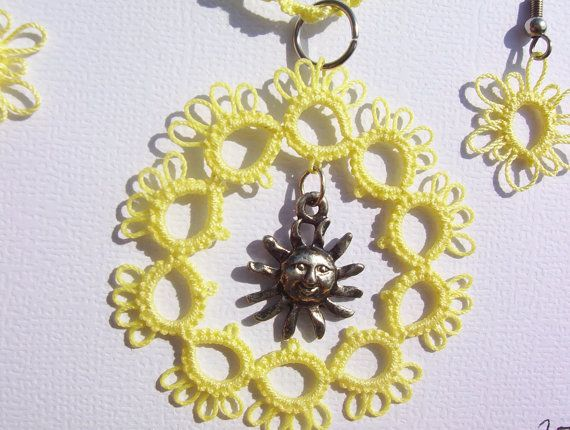 sun charm lace necklace sun charm tatted necklace and by MamaTats