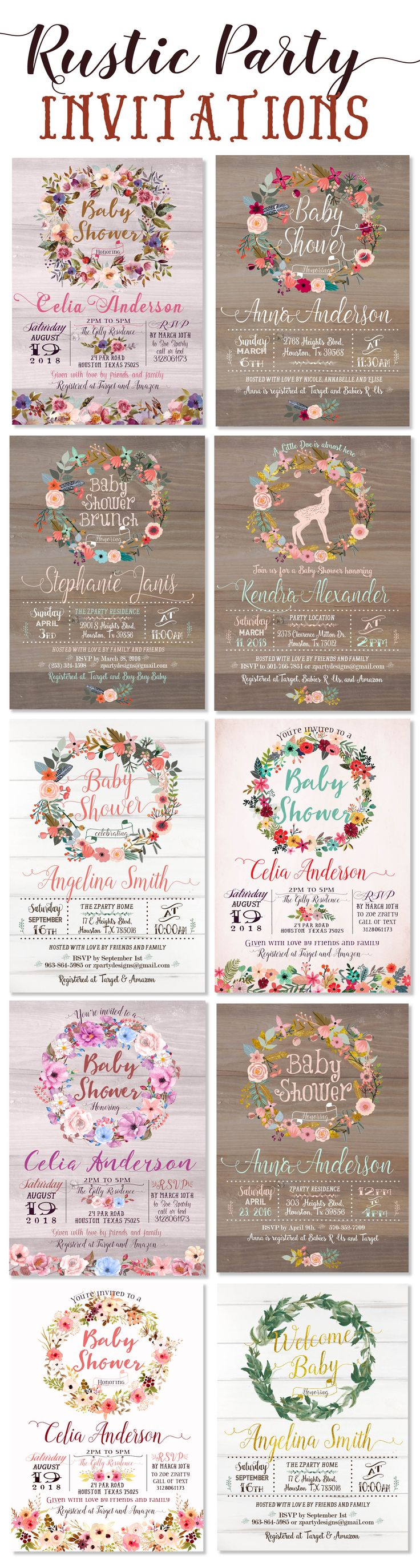 Beautiful rustic and vintage baby shower invitations and party cards featuring wood background, floral wreath, fall and autumn flowers, gold, pink, soft blue floral designs .. perfect for baby shower invitation, birthday invitation or any party invitation! These are printable files - digital invitations - on Etsy https://www.etsy.com/shop/ZPartyDesigns?ref=seller-platform-mcnav&search_query=wr