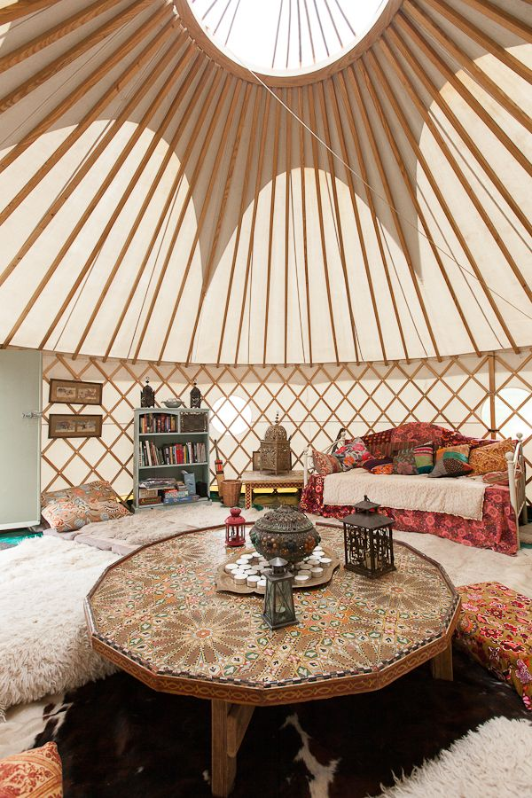 Totally loving this yurt.. and the way it is decorated. International Boho.