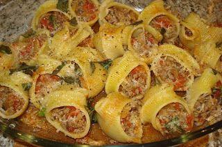 Pasta Lumaconi rellena (Lumaconi ripieni) – Recetas italianas, recetas de cocina italiana en espanol