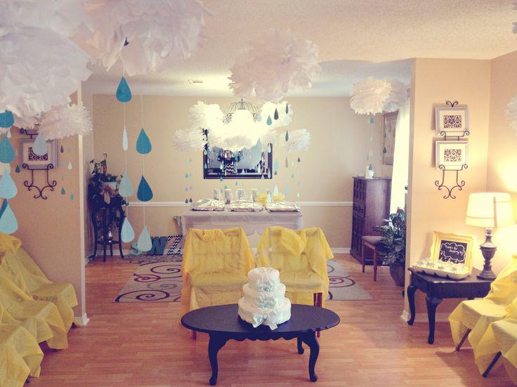 baby shower rain cloud theme raindrops decorations. Black Bedroom Furniture Sets. Home Design Ideas