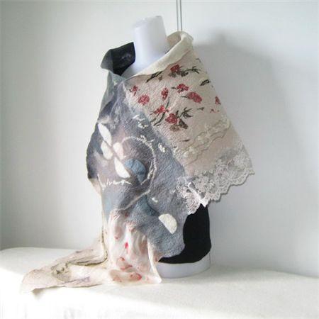 Felted Scarf Wrap Shawl Unique Silky Creamy Gray