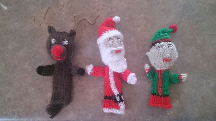 Knitted Christmas decorations / finger puppets