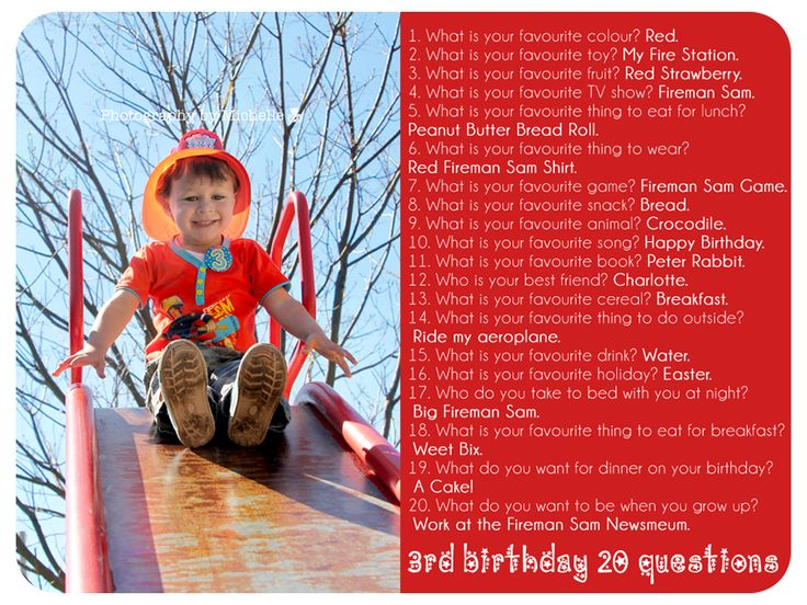 3rd Birthday 20 Questions