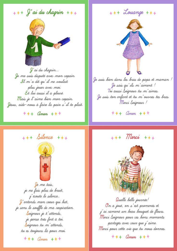 Cartes prières pour les enfants. Disponibles dans le journal gratuit pour l'éveil à la foi édité par le diocèse de Lyon. A télécharger ici:  http://initiationchretienne-lyon.cef.fr/cap-p-tit-vent.html