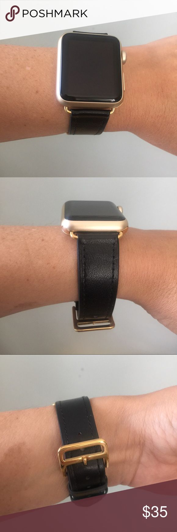 GOLD hardware Apple Watch band, black leather! ❤️ Black Apple Watch band with GOLD hardware.   Single tour band, genuine high quality leather.  It comes in 38mm and 42mm. Please select your size when you purchase. The adapters also fit the Apple Watch Sport.   I also have other band colors, hardware colors and styles in my closet. Check them out!   I offer 15% off if you buy two or more! only the band is for sale; it does not include the watch. Other
