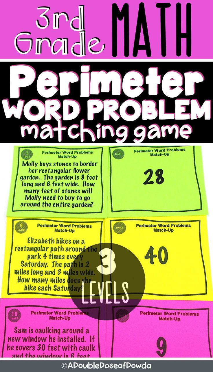 Perimeter Word Problems Matching Activity Game Word Problems